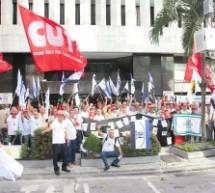 Portuários exigem pagamento da dívida do Portus e fazem protesto em frente à sede