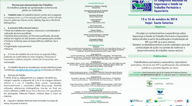III Congresso Nacional de Segurança e Saúde no Trabalho Portuário e Aquaviário